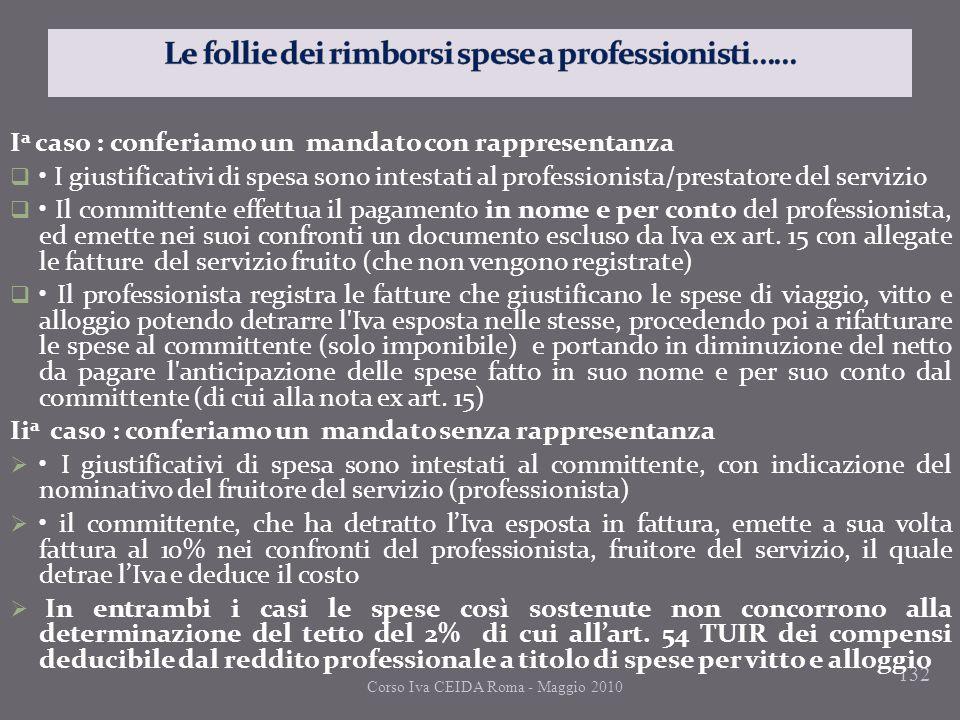 132 I a caso : conferiamo un mandato con rappresentanza I giustificativi di spesa sono intestati al professionista/prestatore del servizio Il committe