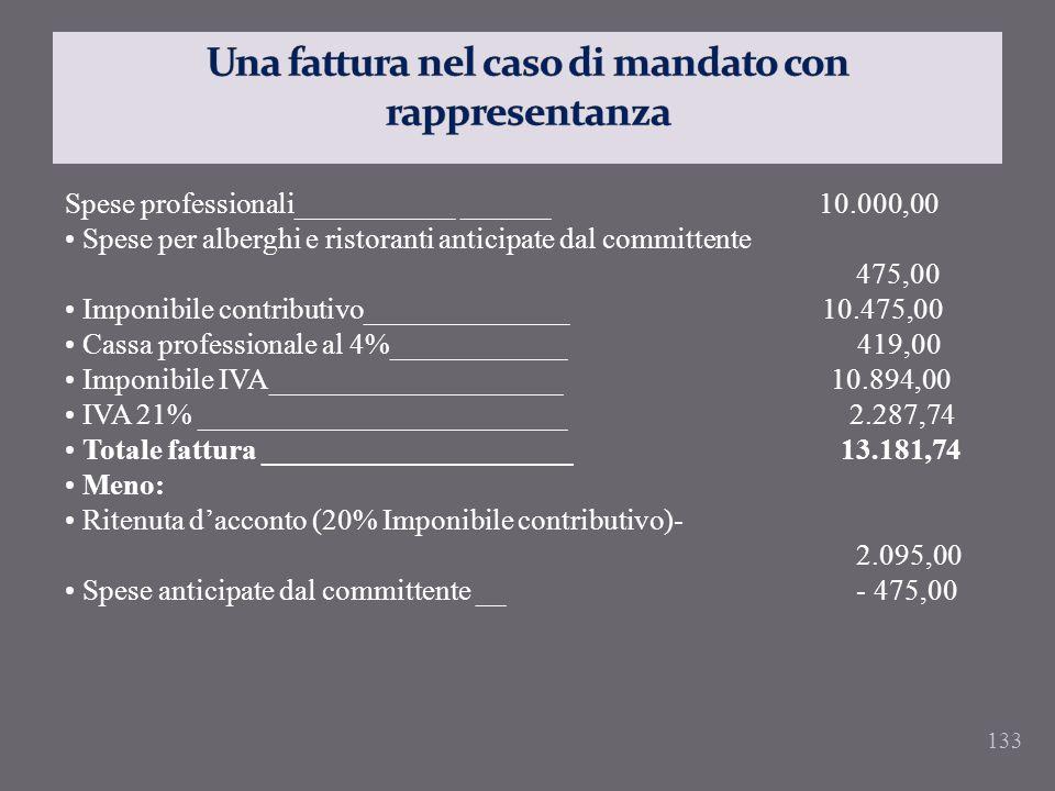 133 Spese professionali___________ ______ 10.000,00 Spese per alberghi e ristoranti anticipate dal committente 475,00 Imponibile contributivo_________