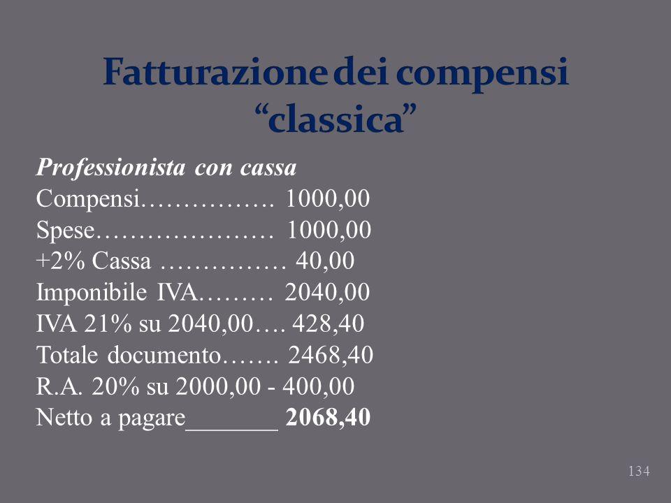134 Professionista con cassa Compensi……………. 1000,00 Spese………………… 1000,00 +2% Cassa …………… 40,00 Imponibile IVA……… 2040,00 IVA 21% su 2040,00…. 428,40 T