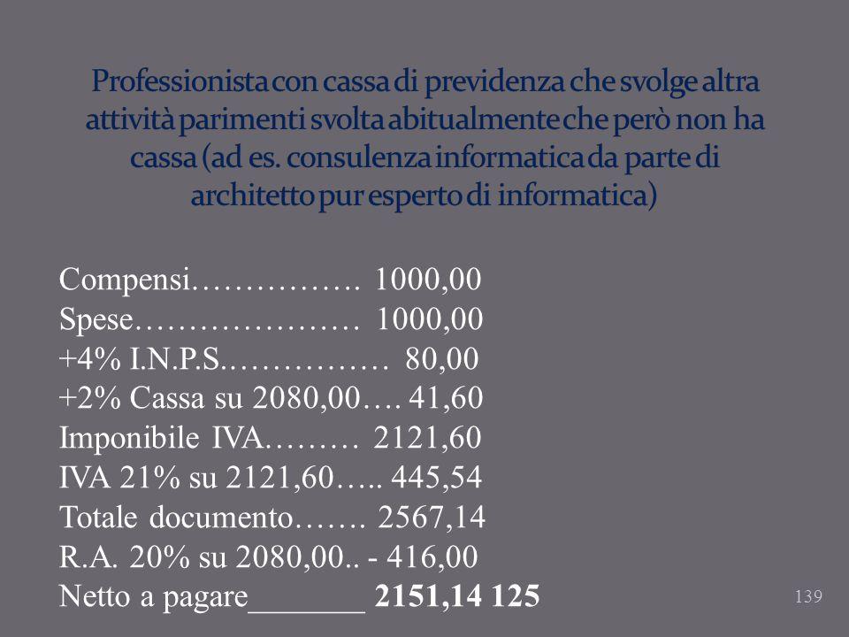 139 Compensi……………. 1000,00 Spese………………… 1000,00 +4% I.N.P.S.…………… 80,00 +2% Cassa su 2080,00…. 41,60 Imponibile IVA……… 2121,60 IVA 21% su 2121,60….. 4