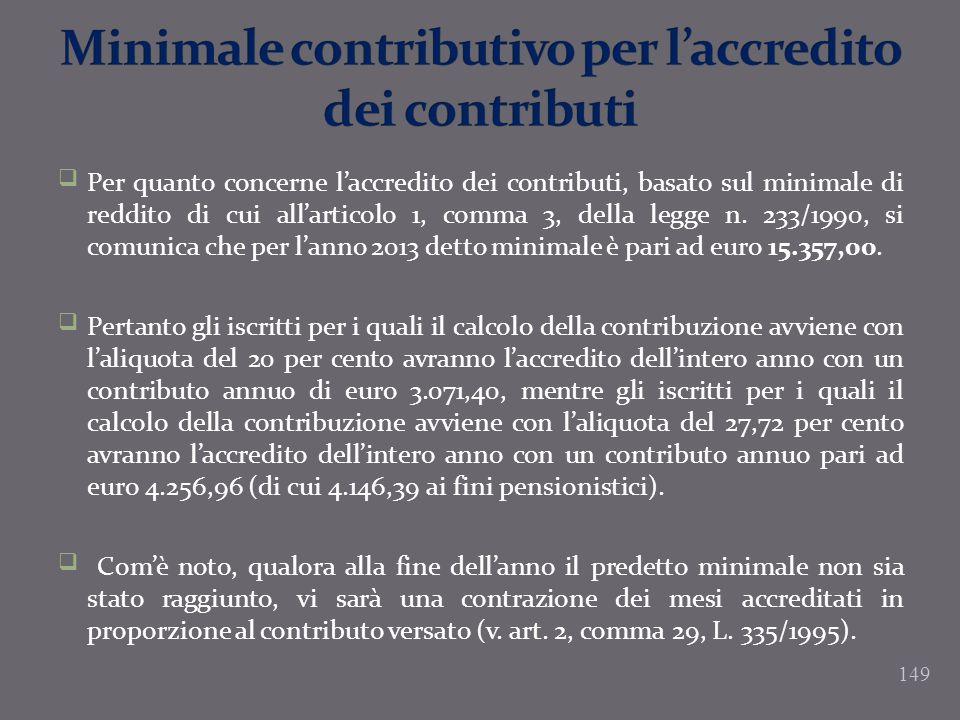 Per quanto concerne laccredito dei contributi, basato sul minimale di reddito di cui allarticolo 1, comma 3, della legge n. 233/1990, si comunica che