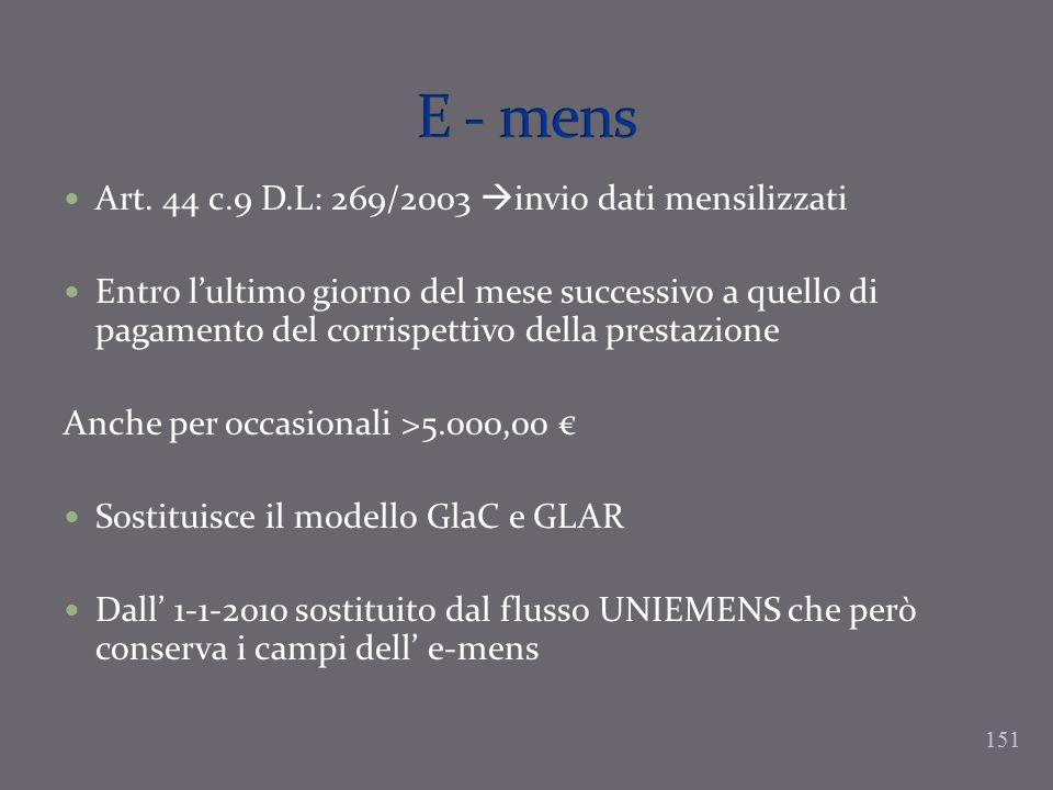 Art. 44 c.9 D.L: 269/2003 invio dati mensilizzati Entro lultimo giorno del mese successivo a quello di pagamento del corrispettivo della prestazione A