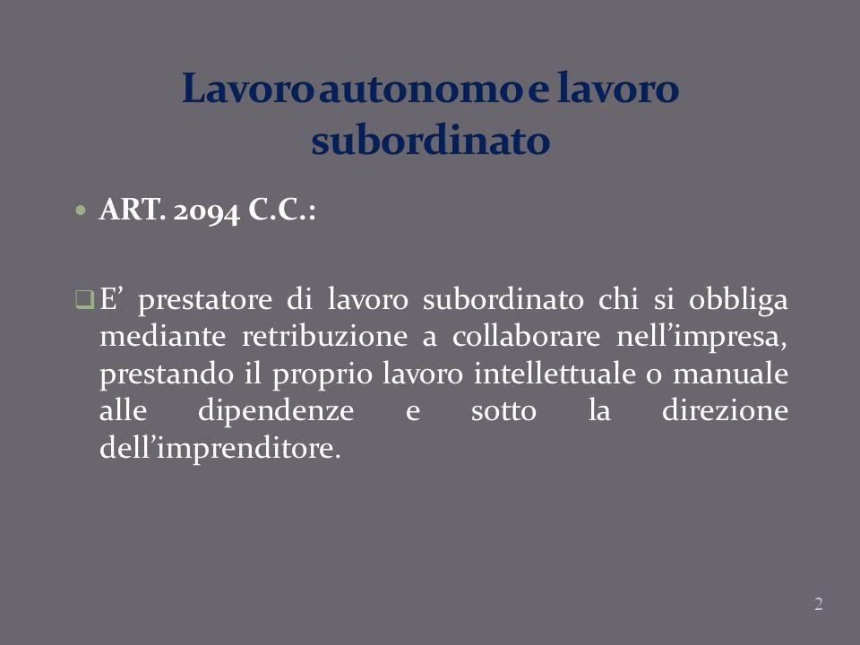 2 ART. 2094 C.C.: E prestatore di lavoro subordinato chi si obbliga mediante retribuzione a collaborare nellimpresa, prestando il proprio lavoro intel
