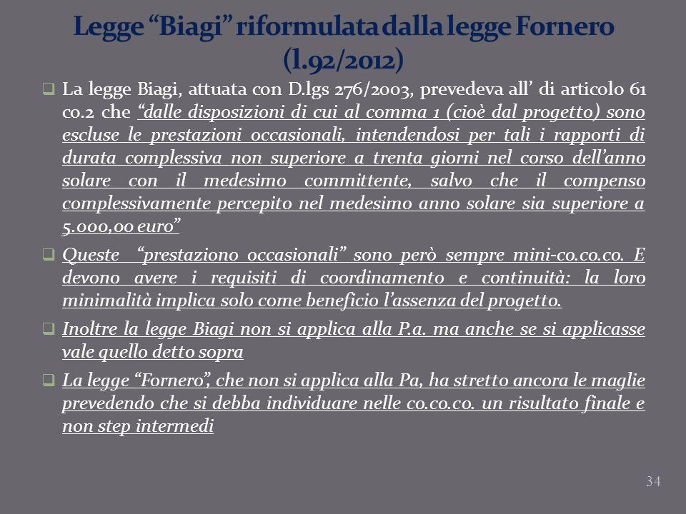 La legge Biagi, attuata con D.lgs 276/2003, prevedeva all di articolo 61 co.2 che dalle disposizioni di cui al comma 1 (cioè dal progetto) sono esclus