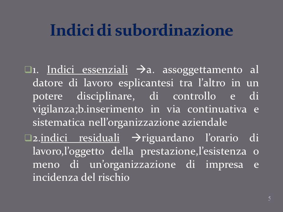 5 1. Indici essenziali a. assoggettamento al datore di lavoro esplicantesi tra laltro in un potere disciplinare, di controllo e di vigilanza;b.inserim