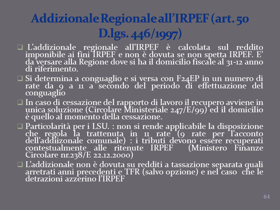 Laddizionale regionale allIRPEF è calcolata sul reddito imponibile ai fini IRPEF e non è dovuta se non spetta IRPEF. E da versare alla Regione dove si