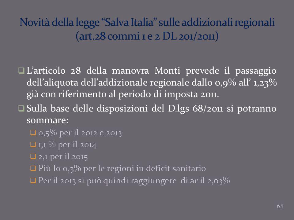 Larticolo 28 della manovra Monti prevede il passaggio dellaliquota delladdizionale regionale dallo 0,9% all 1,23% già con riferimento al periodo di im