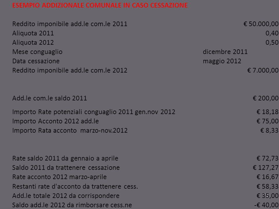 71 ESEMPIO ADDIZIONALE COMUNALE IN CASO CESSAZIONE Reddito imponibile add.le com.le 2011 50.000,00 Aliquota 20110,40 Aliquota 20120,50 Mese conguaglio