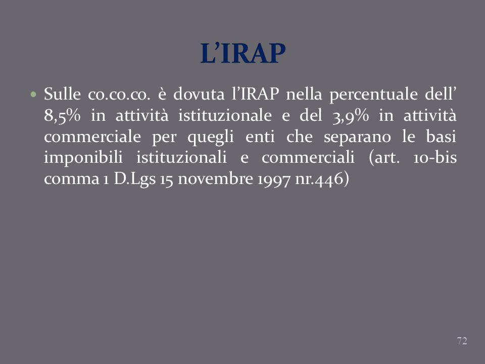 Sulle co.co.co. è dovuta lIRAP nella percentuale dell 8,5% in attività istituzionale e del 3,9% in attività commerciale per quegli enti che separano l