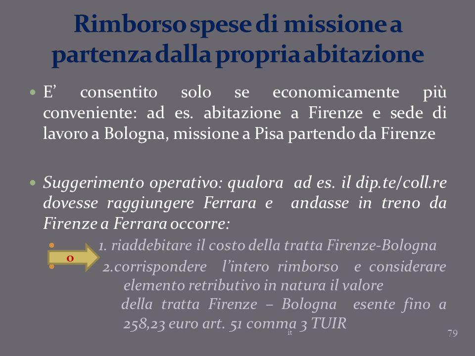 E consentito solo se economicamente più conveniente: ad es. abitazione a Firenze e sede di lavoro a Bologna, missione a Pisa partendo da Firenze Sugge