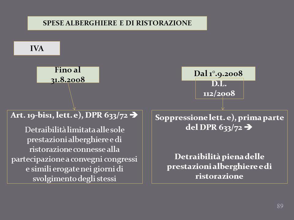 89 SPESE ALBERGHIERE E DI RISTORAZIONE IVA Fino al 31.8.2008 Dal 1°.9.2008 Art. 19-bis1, lett. e), DPR 633/72 Detraibilità limitata alle sole prestazi