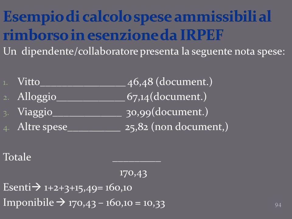 94 Un dipendente/collaboratore presenta la seguente nota spese: 1. Vitto________________ 46,48 (document.) 2. Alloggio_____________ 67,14(document.) 3
