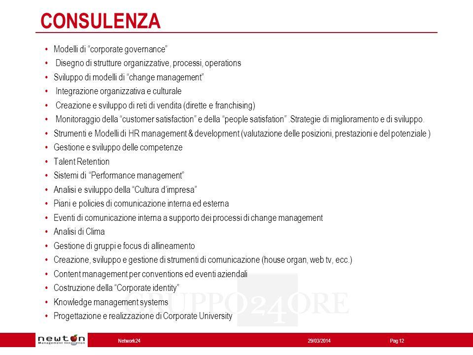 Network24 29/03/2014Pag 12 Modelli di corporate governance Disegno di strutture organizzative, processi, operations Sviluppo di modelli di change mana