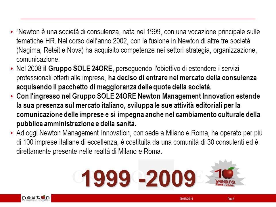 Network24 29/03/2014Pag 4 Newton è una società di consulenza, nata nel 1999, con una vocazione principale sulle tematiche HR.