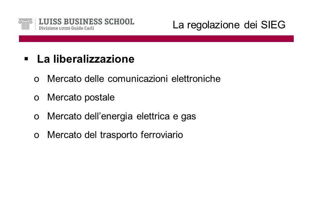 La regolazione dei SIEG La liberalizzazione oMercato delle comunicazioni elettroniche oMercato postale oMercato dellenergia elettrica e gas oMercato del trasporto ferroviario