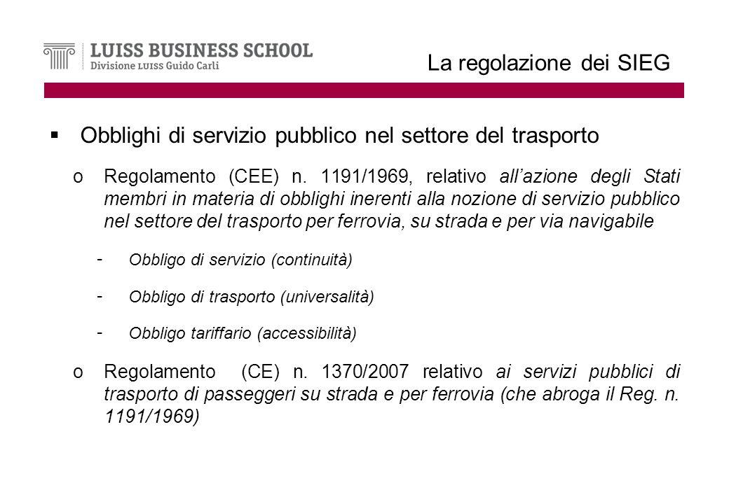 La regolazione dei SIEG Obblighi di servizio pubblico nel settore del trasporto oRegolamento (CEE) n.