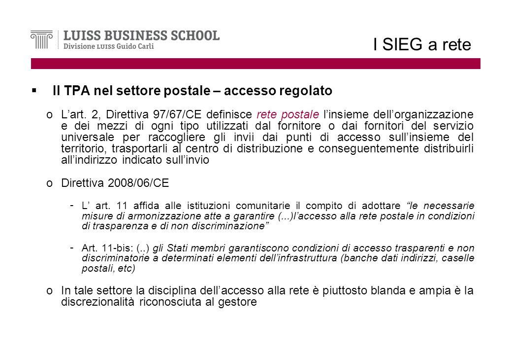 I SIEG a rete Il TPA nel settore postale – accesso regolato oLart.