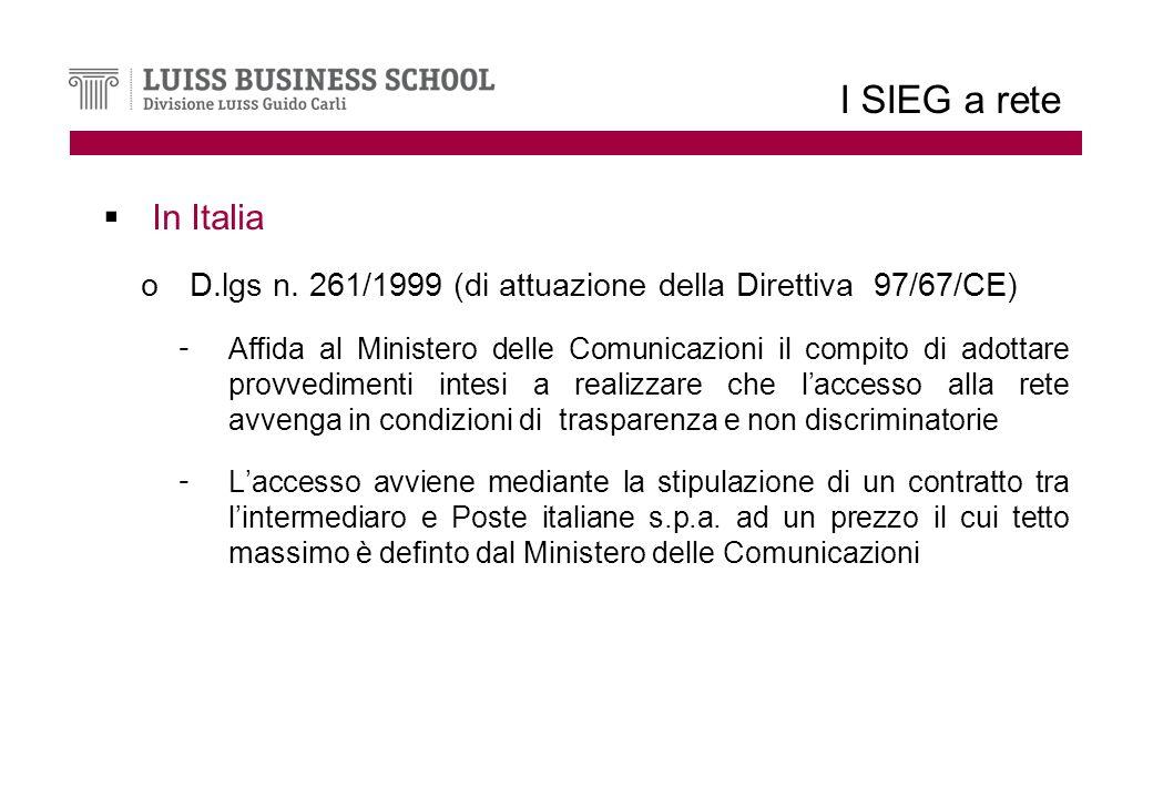 I SIEG a rete In Italia oD.lgs n.
