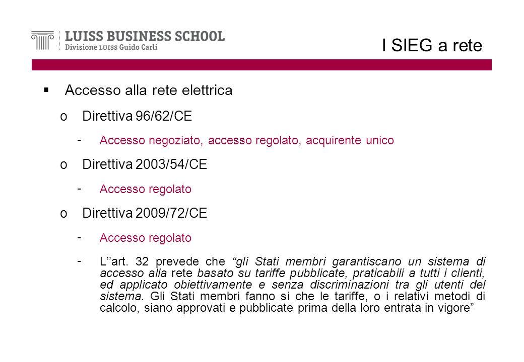 I SIEG a rete Accesso alla rete elettrica oDirettiva 96/62/CE - Accesso negoziato, accesso regolato, acquirente unico oDirettiva 2003/54/CE - Accesso regolato oDirettiva 2009/72/CE - Accesso regolato - Lart.