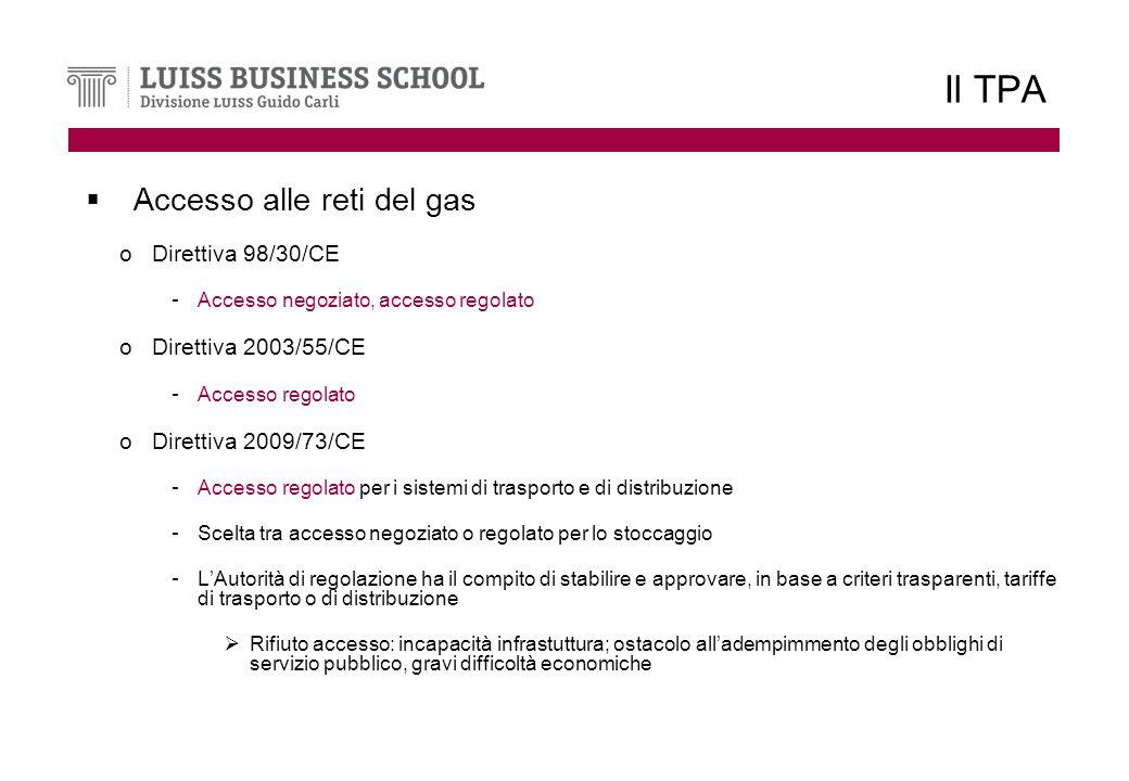 Il TPA Accesso alle reti del gas oDirettiva 98/30/CE - Accesso negoziato, accesso regolato oDirettiva 2003/55/CE - Accesso regolato oDirettiva 2009/73/CE - Accesso regolato per i sistemi di trasporto e di distribuzione - Scelta tra accesso negoziato o regolato per lo stoccaggio - LAutorità di regolazione ha il compito di stabilire e approvare, in base a criteri trasparenti, tariffe di trasporto o di distribuzione Rifiuto accesso: incapacità infrastuttura; ostacolo alladempimmento degli obblighi di servizio pubblico, gravi difficoltà economiche