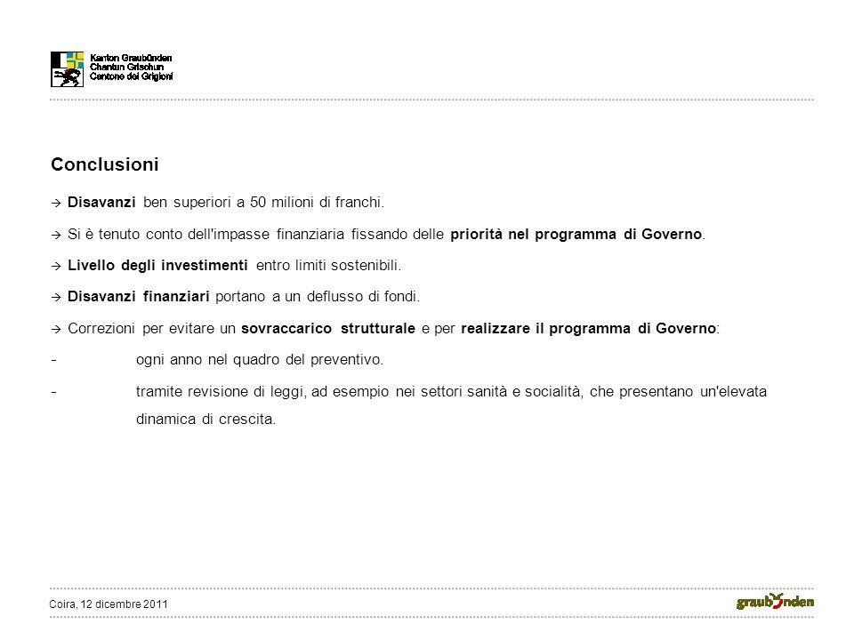 Conclusioni Disavanzi ben superiori a 50 milioni di franchi.