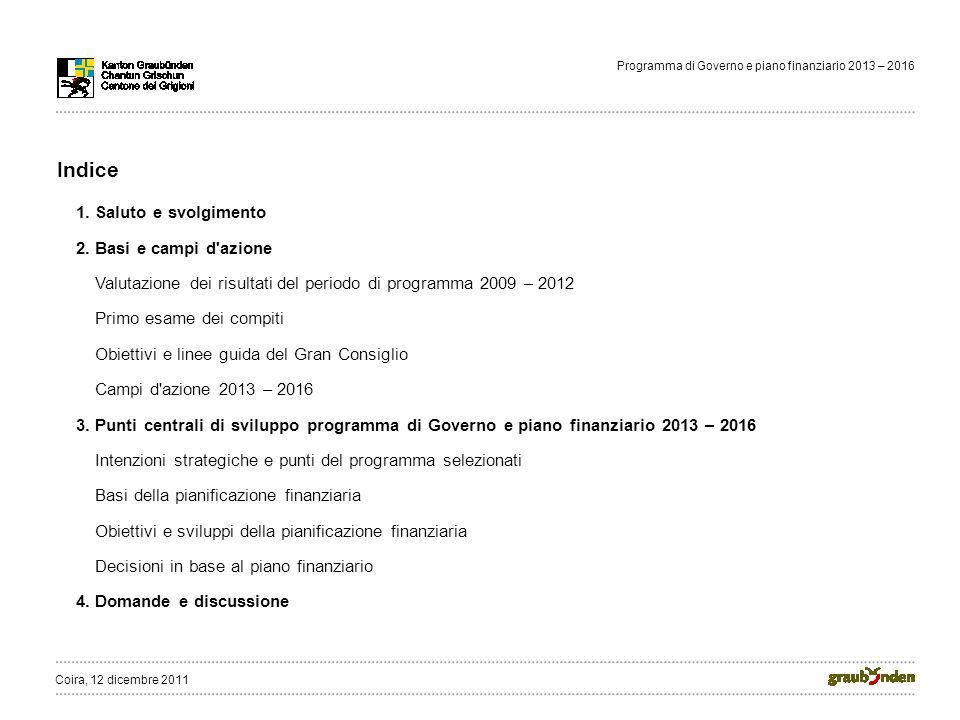 Programma di Governo e piano finanziario 2013 – 2016 Indice 1.