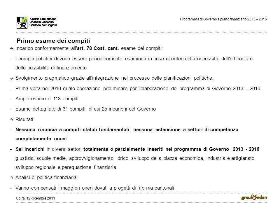 Programma di Governo e piano finanziario 2013 – 2016 Primo esame dei compiti Incarico conformemente all art.