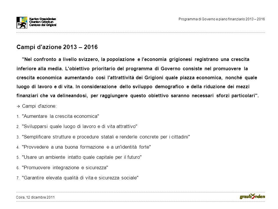 Programma di Governo e piano finanziario 2013 – 2016 Campi d azione 2013 – 2016 Nel confronto a livello svizzero, la popolazione e l economia grigionesi registrano una crescita inferiore alla media.