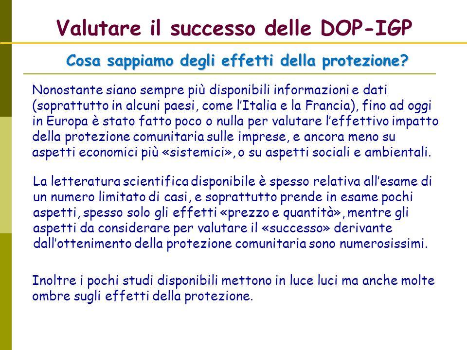 Valutare il successo delle DOP-IGP Nonostante siano sempre più disponibili informazioni e dati (soprattutto in alcuni paesi, come lItalia e la Francia