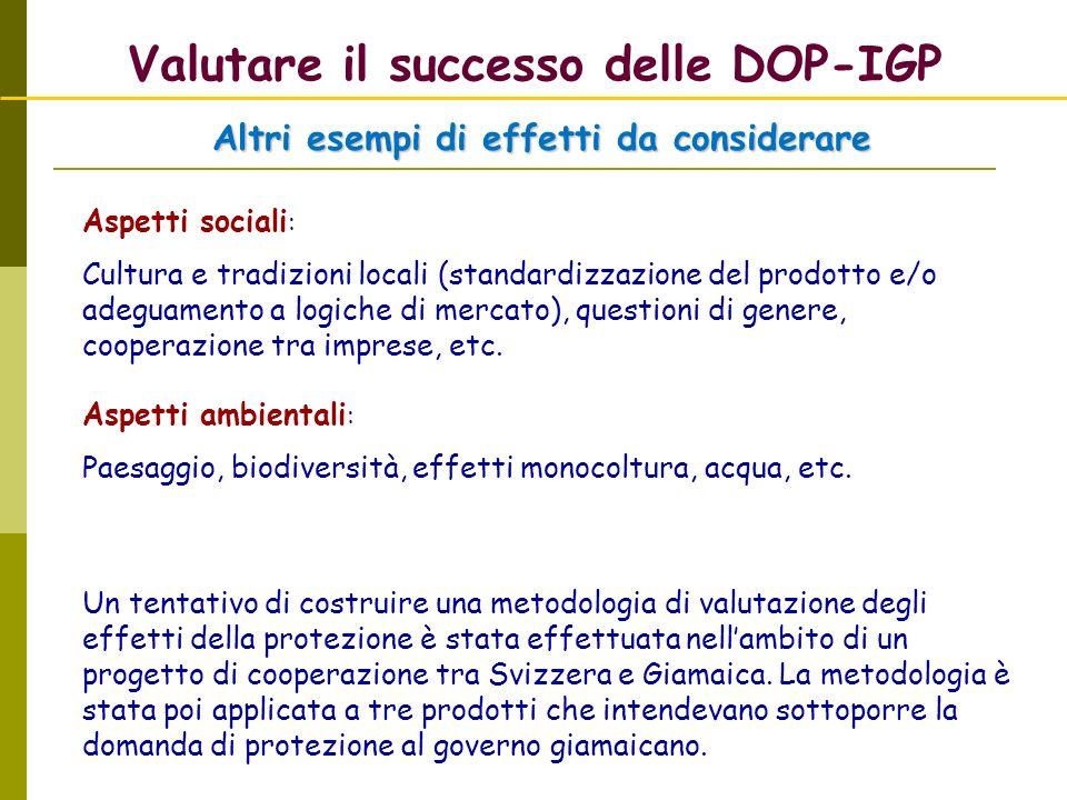 Valutare il successo delle DOP-IGP Altri esempi di effetti da considerare Aspetti sociali : Cultura e tradizioni locali (standardizzazione del prodott