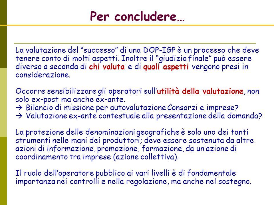 Per concludere… La valutazione del successo di una DOP-IGP è un processo che deve tenere conto di molti aspetti. Inoltre il giudizio finale può essere