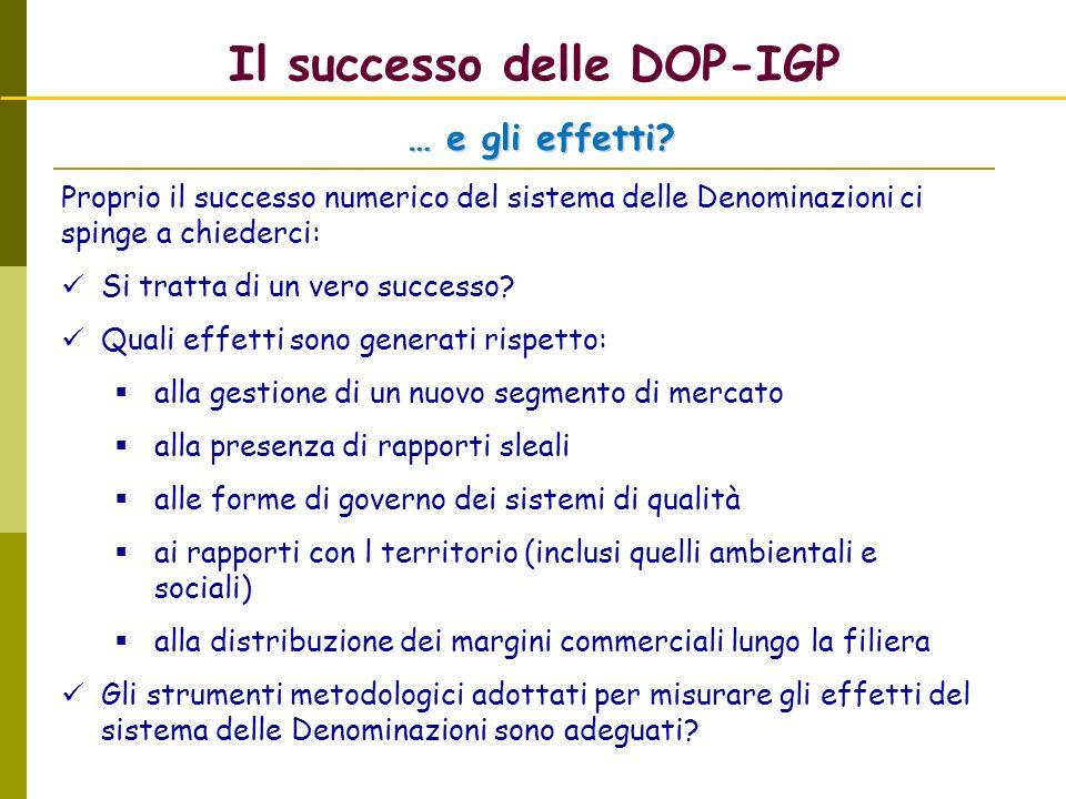 Il successo delle DOP-IGP Proprio il successo numerico del sistema delle Denominazioni ci spinge a chiederci: Si tratta di un vero successo? Quali eff