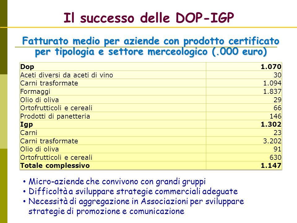 Il successo delle DOP-IGP Micro-aziende che convivono con grandi gruppi Difficoltà a sviluppare strategie commerciali adeguate Necessità di aggregazio