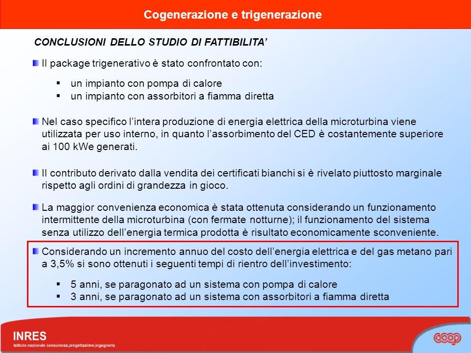 Cogenerazione e trigenerazione CONCLUSIONI DELLO STUDIO DI FATTIBILITA Il package trigenerativo è stato confrontato con: un impianto con pompa di calo