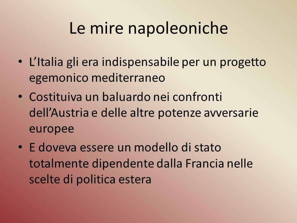 Le mire napoleoniche LItalia gli era indispensabile per un progetto egemonico mediterraneo Costituiva un baluardo nei confronti dellAustria e delle al