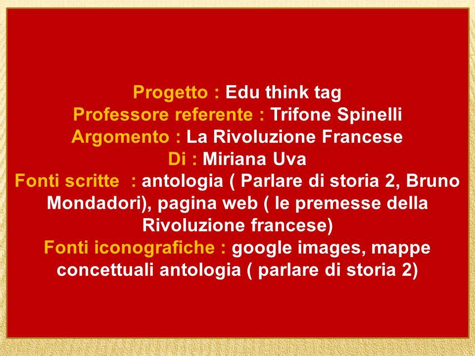 Progetto : Edu think tag Professore referente : Trifone Spinelli Argomento : La Rivoluzione Francese Di : Miriana Uva Fonti scritte : antologia ( Parl