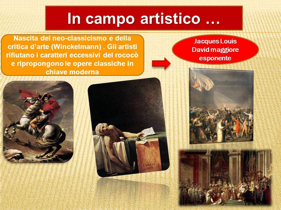 In campo artistico … Nascita del neo-classicismo e della critica darte (Winckelmann). Gli artisti rifiutano i caratteri eccessivi del rococò e ripropo