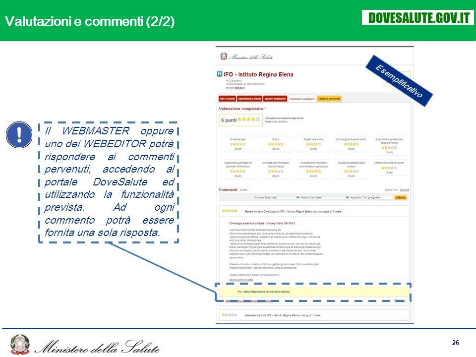 26 Il WEBMASTER oppure uno dei WEBEDITOR potrà rispondere ai commenti pervenuti, accedendo al portale DoveSalute ed utilizzando la funzionalità prevista.
