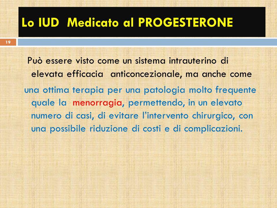 Lo IUD Medicato al PROGESTERONE Può essere visto come un sistema intrauterino di elevata efficacia anticoncezionale, ma anche come una ottima terapia
