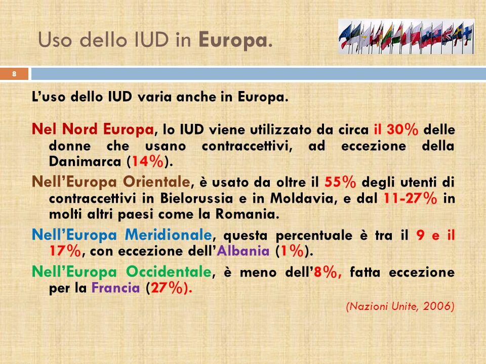 Uso dello IUD in Europa. Luso dello IUD varia anche in Europa. Nel Nord Europa, lo IUD viene utilizzato da circa il 30% delle donne che usano contracc