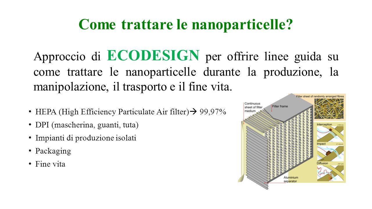 Come trattare le nanoparticelle? HEPA (High Efficiency Particulate Air filter) 99,97% DPI (mascherina, guanti, tuta) Impianti di produzione isolati Pa