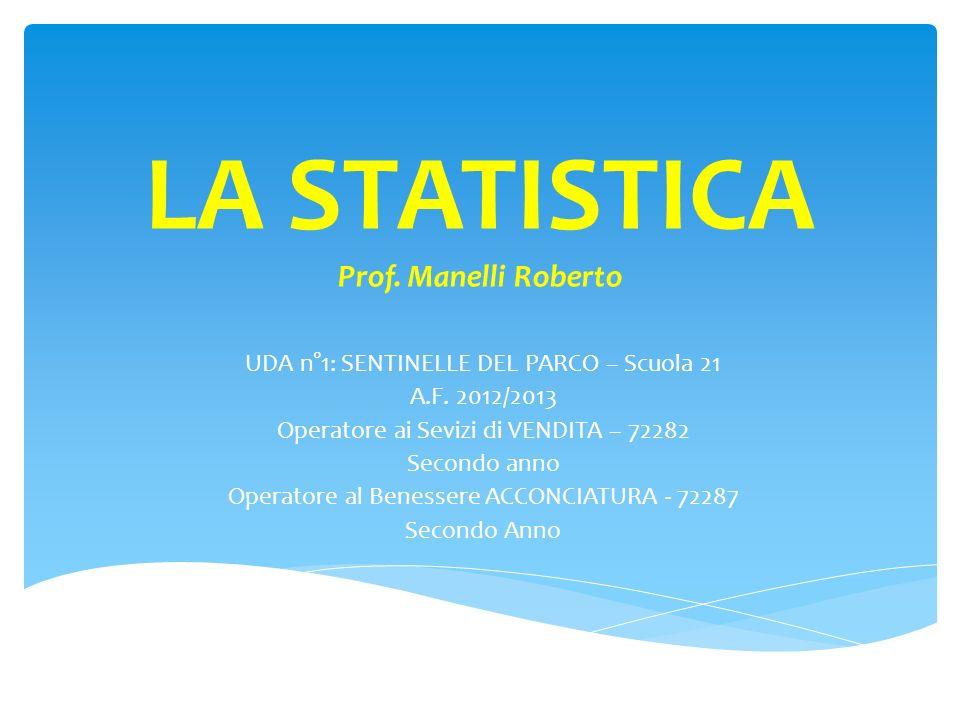 La STATISTICA è la scienza che RACCOGLIE, ANALIZZA ed INTERPRETA, utilizzando metodi e strumenti matematici, le informazioni riguardanti un particolare fenomeno, ne misura e studia certe caratteristiche e permette di fare previsioni sul futuro andamento del fenomeno stesso.