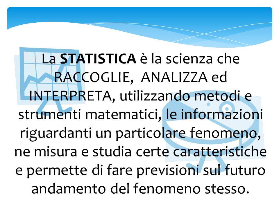 STATISTICA DESCRITTIVA È il ramo della statistica che si occupa delle modalità con cui rappresentare e analizzare i dati statistici raccolti sullintera popolazione.
