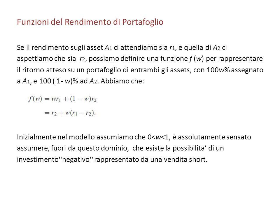 Funzioni del Rendimento di Portafoglio Se il rendimento sugli asset A 1 ci attendiamo sia r 1, e quella di A 2 ci aspettiamo che sia r 2, possiamo def