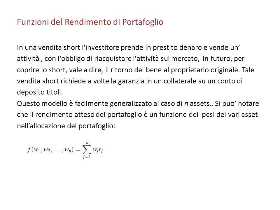 Funzioni del Rendimento di Portafoglio In una vendita short l'investitore prende in prestito denaro e vende un attività, con l'obbligo di riacquistare