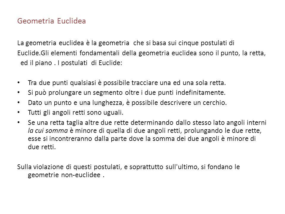 Geometria Euclidea La geometria euclidea è la geometria che si basa sui cinque postulati di Euclide.Gli elementi fondamentali della geometria euclidea
