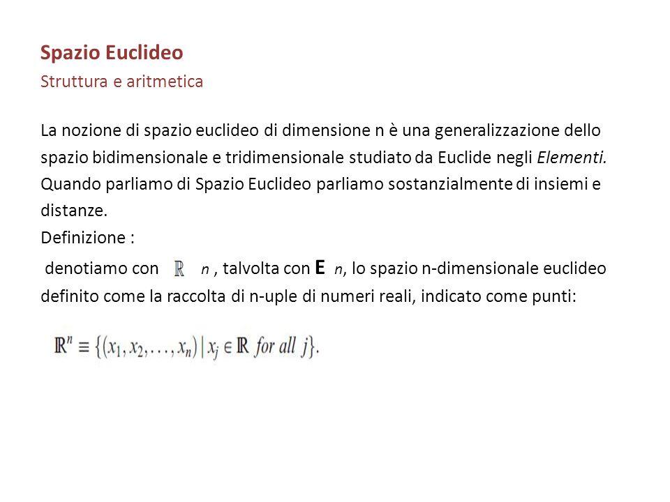 Spazio Euclideo Struttura e aritmetica La nozione di spazio euclideo di dimensione n è una generalizzazione dello spazio bidimensionale e tridimension