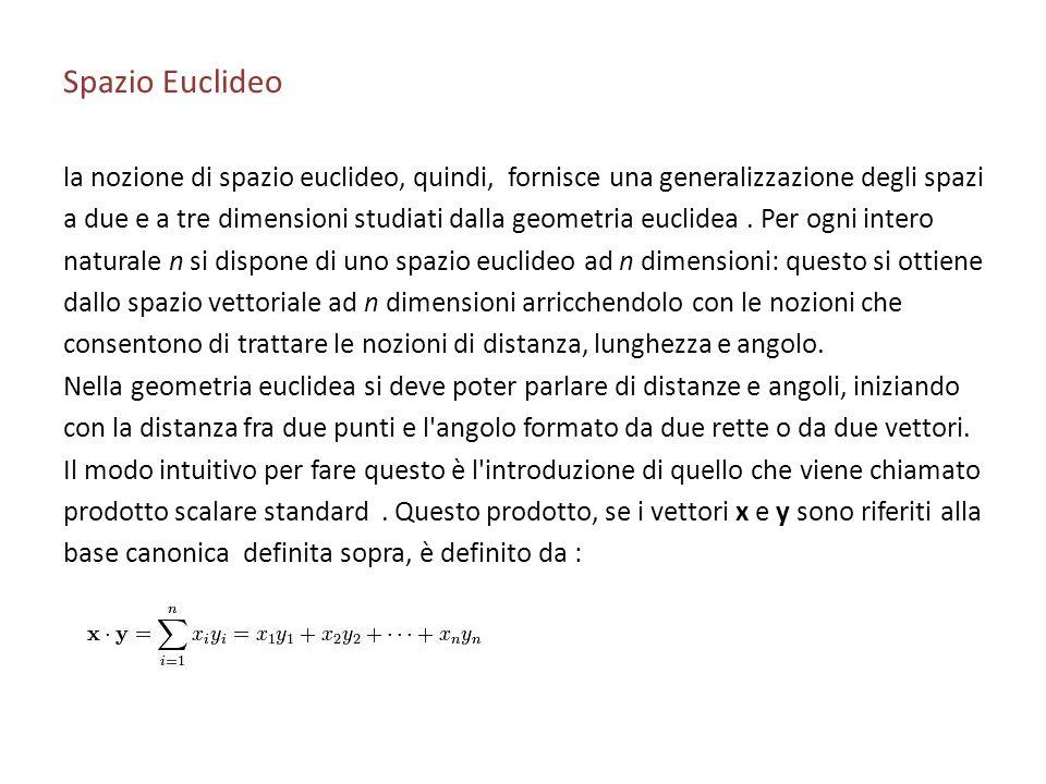 Spazio Euclideo la nozione di spazio euclideo, quindi, fornisce una generalizzazione degli spazi a due e a tre dimensioni studiati dalla geometria euc