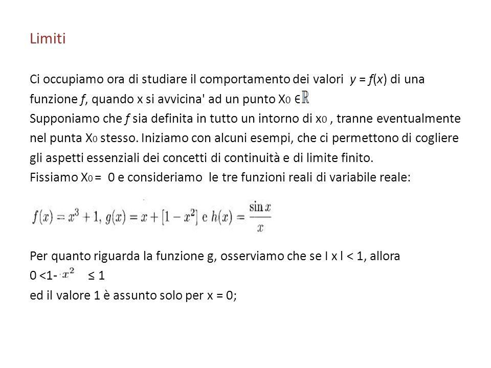 Limiti Ci occupiamo ora di studiare il comportamento dei valori y = f(x) di una funzione f, quando x si avvicina' ad un punto X 0 Supponiamo che f sia