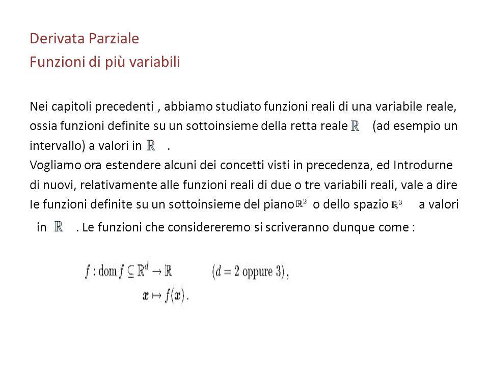 Derivata Parziale Funzioni di più variabili Nei capitoli precedenti, abbiamo studiato funzioni reali di una variabile reale, ossia funzioni definite s